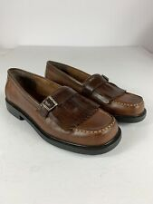Predictions Leather Collection Womans Size 9 Buckel Kilt Slip On Loafer Shoes 59