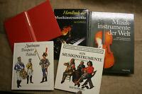 5 Sammlerbücher alte historische Musikinstrumente, Laute, Orgel, Instrumentenbau