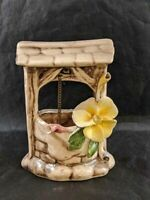 """Vintage Capodimonte Nuova Wishing Well with Flower  4.5"""" Made in Italy"""