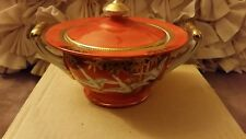 Noritacaina Orange Porcelain Rice bowl W/ Handles Bamboo White Geese In Flight