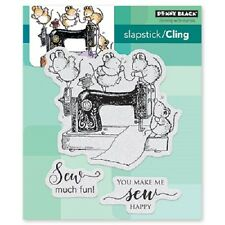 PENNY BLACK RUBBER STAMPS SLAPSTICK CLING SEW MUCH FUN NEW cling STAMP SET