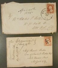 c.1850's, 3c A10 Stamps & Covers, Wyoming, IL, 2 Pieces, See Pen Cancel