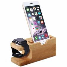 Bamboo charging dock station charger holder for i phone and apple watch