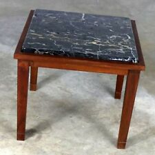 ON SALE! Mid Century Modern Walnut and Black Marble Square End or Side Table