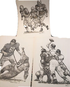 lot of three ROBERT RIGER football prints ~ 1960s ~ Bears,49ers,Vikings,Packers