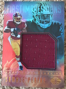 2017 PANINI ILLUSIONS RC SAMAJE PERINE JUMBO PLAYER WORN JERSEY SWATCH! REDSKINS