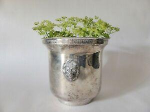 Antique Lion Head Planter, Silver Plated Metal Pot, Rustic Jardinière