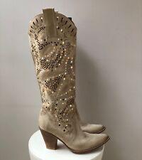 GREY MER Stiefel Beige Gr. 37 Schuhe Nieten Cowboystiefel Shoes Boots