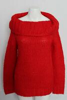 Zara Knit Oversized Sweater Turtleneck Red Medium Womens