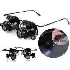 Portable 20X  Eye Loupe Head Magnifying Glass Jeweler Magnifier With 2 LED Light