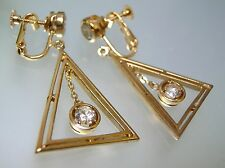 Vintage top quality gold plated big Triangle dangle center CZ screw back earring