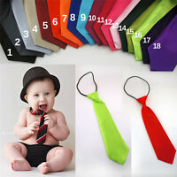 Infant Toddler Boys Ties 20 Solid Colors Match Your Wedding Elastic Necktie Sets