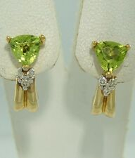 10K YELLOW GOLD 1.00ct 5mm TRILLION SYNTHETIC PERIDOT HUGGIE AUGUST EARRINGS