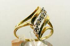 Lovely 10k yellow gold Diamond wave Ring Sz 7  free shipping