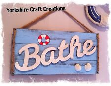 Bathroom Sign - Nautical Style Bath Plaque - Handmade Shabby Chic Picture - Gift