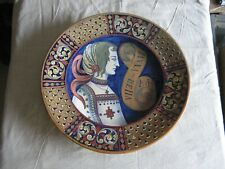 Magnifique grand plat majolique reflet cuivré Gualdo Tadino Signée Rubboli 1920
