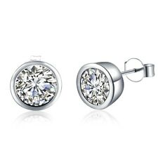 Women's Ear Stud Earrings CZ Silver Plated Fashion Jewelry 10MM