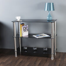 Black Glass 3 Tier Shelving Unit Shelf Storage Display Cabinet Metal Chrome Legs