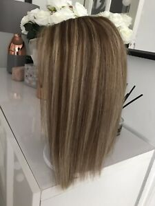 """Highlights Ombre Blonde Brown Lace Bob 14"""" Glueless 100% Human Real Hair Wig"""