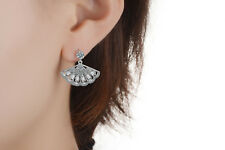 Women's Fashion 925 Sterling Silver Baguette Zircon Fan Style Dangle Earrings