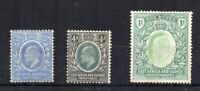 KUT - East Africa amd Uganda Protectorates 1904-07 2 1/2s, 4a and 1r MH