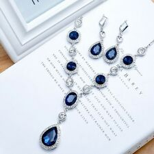 Silver Plated SHAPHIRE Blue CZ Diamante Crystal Tear Drop Necklace Earring Set