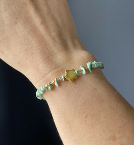 Turquoise Nugget Chip Gold Plated Star Bracelet, Gold Plated Toggle Clasp 7inch