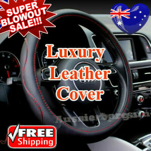 Universal 38cm Car Steering Wheel Cover Black&Red Stitching PU Leather Car Cover