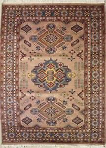 Rugstc 4x6 Caucasian Design Beige  Rug, Hand-Knotted,Geometric with Silk/Wool