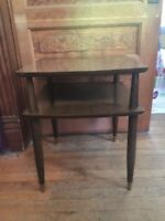 Vintage Mid Century Modern Wood End Table Two Tier