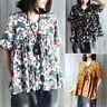 ZANZEA Women's Vintage Floral Print Shirt Tops Casual Blouse V Neck Tee T-Shirt