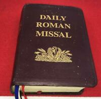 DAILY ROMAN MISSAL Bonded Leather Book Masses Scripture Catholic Vtg 1st Socias