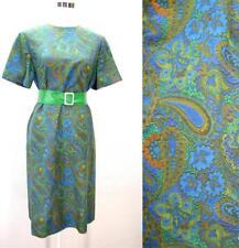 VTG 60's Mod blue green floral paisley tapestry shift dress L