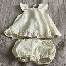 Vintage Floral Girl Set Dress With Shorts Ruffle Yellow Baby 13 Months Open Back