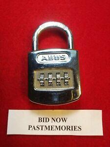 """ABUS"" GERMANY CHROME COMBINATION PADLOCK w/ COMBO, OLD VINTAGE ANTIQUE LOCK"