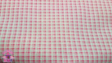 Calico Cotton Pink Plaid Fabric By The Yard