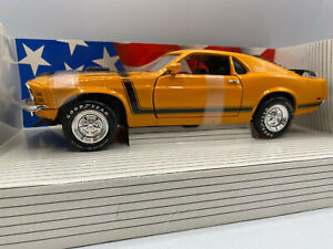 Ertl 1970 Ford Mustang Boss 302 Orange & Black Color 1/18 Scale Diecast
