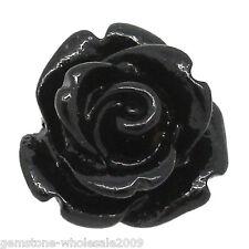 Wholesale 100 Lots Craft Resin Cabochons Flatback Flower Black Rose 10x10mm GW