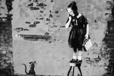 Banksy Girl and Rat Poster 18x12 inch