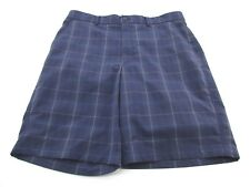 *KIRKLAND* SIZE 36 MEN'S NAVY PLAID PRINT STRETCH SHORTS W/SIDE POCKETS
