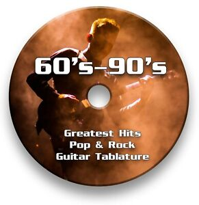 Over 1200 - 60s-90s Pop & Rock Guitar Tabs Tablature Lesson Software CD
