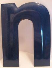 Old Cobalt Blue Porcelain Sign Letter 'n' - Gas Station or Store Advertising