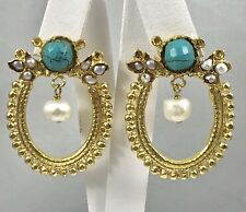 Etruscan Revival Turquoise & Cultured Pearl Earrings 22k Gold Overlay, New