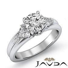 3 Stone Round Diamond Engagement Bezel Set Ring GIA F SI1 14k White Gold 1.6ct
