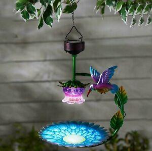Solar Powered Hanging Wild Bird Bird Bath Feeder Seed Nut Garden Feeding Station
