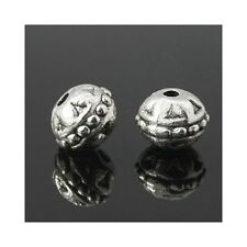 Packet 20 x Antique Silver Tibetan 8mm Round Spacer Beads HA17260