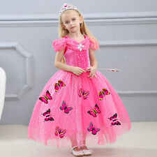a38cf4696ef Kids Baby Flower Girls Cinderella Princess Fancy Dress Wedding Costume  Party out 130cm Blue