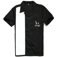 Men Shirts Rock N Roll Embroidered Rockabilly Short Sleeve Bowling Casual Shirts