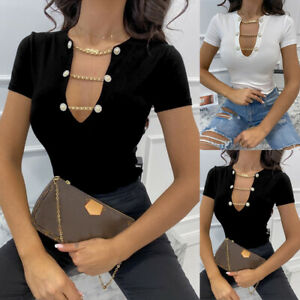Women Sexy V-neck Chain T-shirt Bodycon Tops Ladies Short Sleeve Blouse Pullover