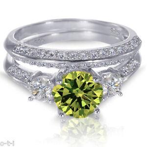 Brilliant Round Peridot White Gold Finish Silver Wedding Engagement Ring Set